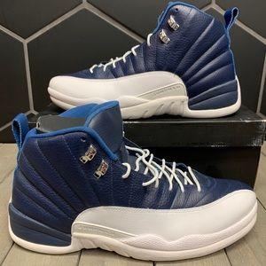 Air Jordan 12 Retro Obsidian Blue Shoes Size 14